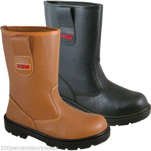 Blackrock Work Wear Mens Safety Rigger Boots Shoes Tan Black Steel Toe Cap New | eBay