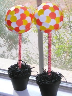 Make a paper punch candy corn topiary