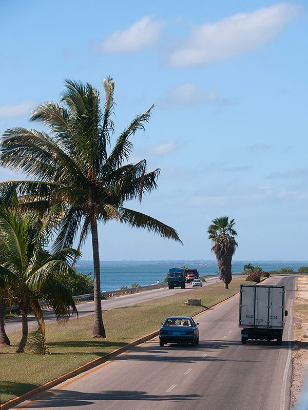 Varadero Cuba. A view of the autoroute which is located near the sea on the Varadero peninsula.