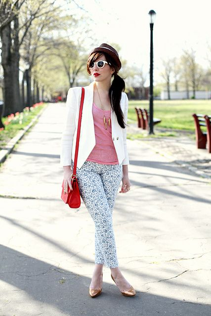 patterned jeans and bright lips
