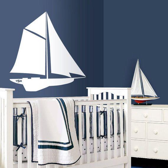 Segelboot nautische Kinderzimmer Kunst - Kinderzimmer-Wandtattoo - Meer-Strand-Kinderhort - Segelboot Kindergarten Thema auf Etsy, 24,43€