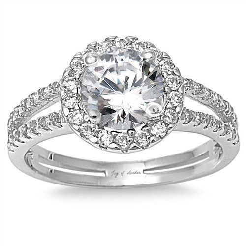 2CT Halo Russian Lab Diamant-Verlobungsring im Rundschliff   – Ring