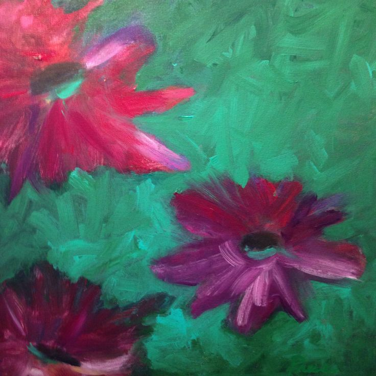 Flowers in the abstraction 1; original acrylic painting by Alison Press