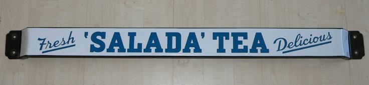 Salada Tea Fresh Delicious advertising door push bar in blue, promotional item, c. mid-20th century, porcelain enamel on metal