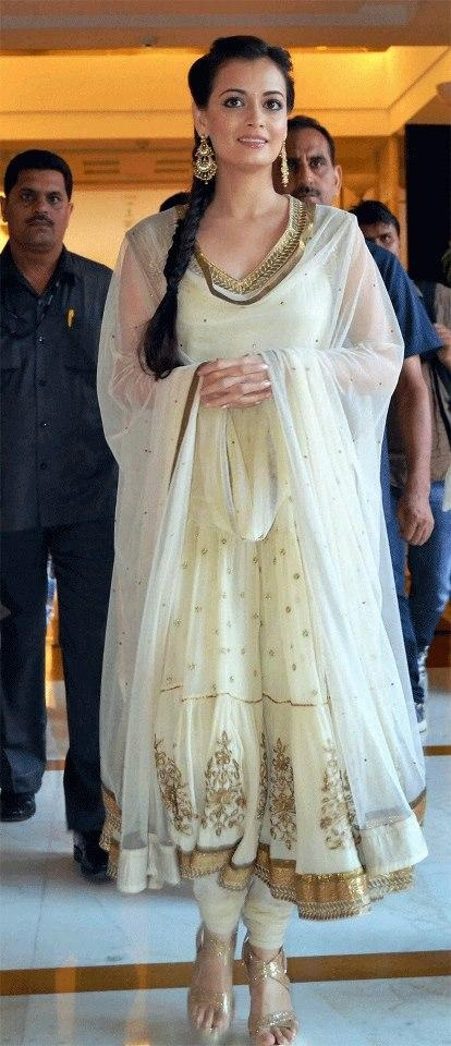 Dia MIrza in cream anarkali