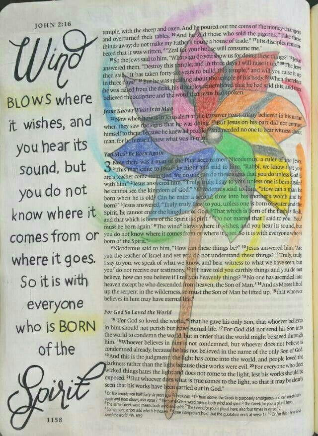 John 3:8 Bible art journaling by @peggythibodeau www.peggyart.com Holy Spirit is a mystery, just like the wind.