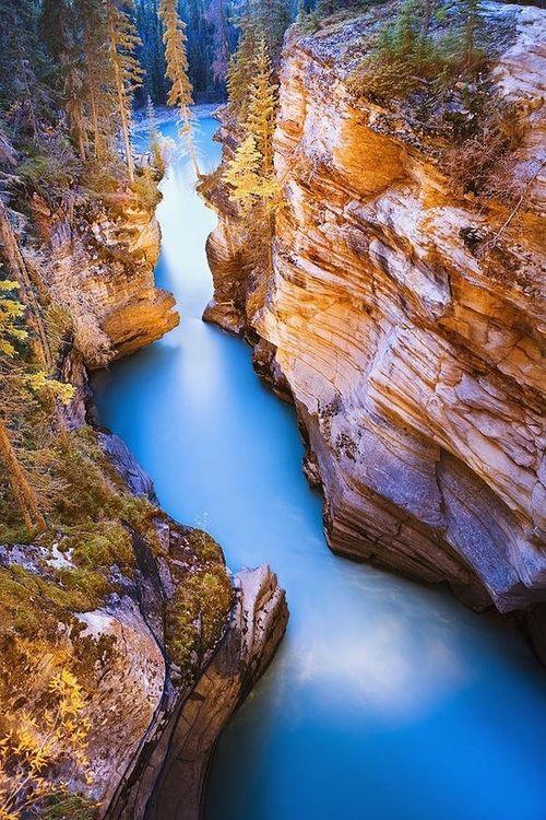 Athabasca Falls At Dusk, Canada