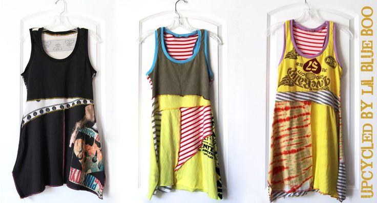 t-shirt refashion: tunic mixed fabrics top blouse