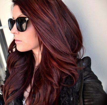 rich burgundy/brown hair.
