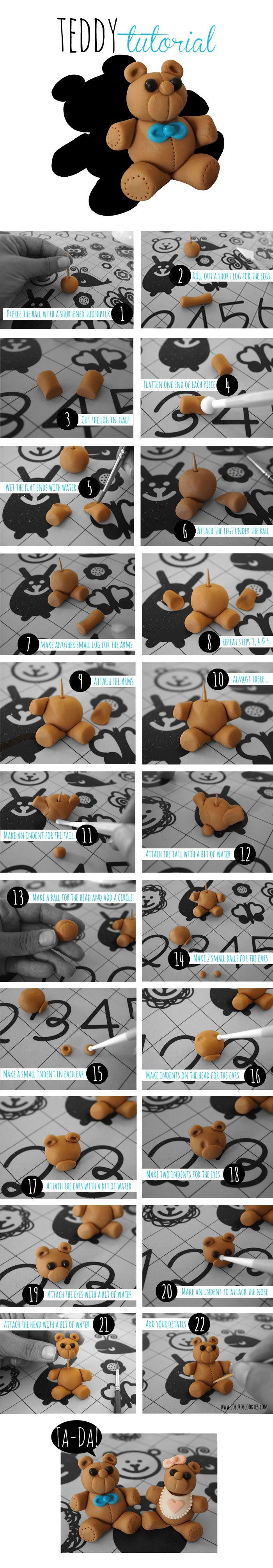 Gumpaste Teddy Bear Tutorial - Coeur de Cookies #fondant #gumpaste #sugarpaste #figures