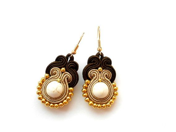 Soutache earrings with howlite. In colors  brown by MolickaJewelry, $20.00