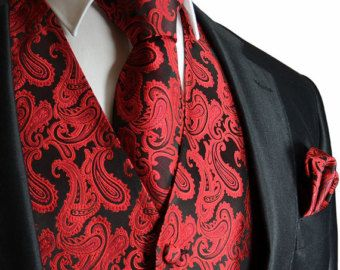 Red / Black XS to 6XL Paisley Tuxedo Suit Dress Vest Waistcoat & Neck tie And Hankie Set wedding