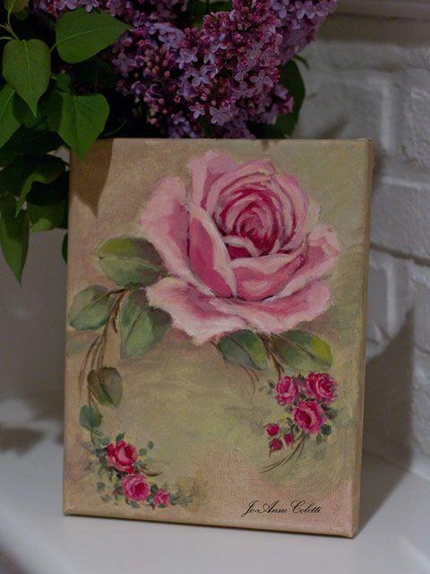 Rose painting, vintage roses, JoAnne Coletti, original art work, framed art