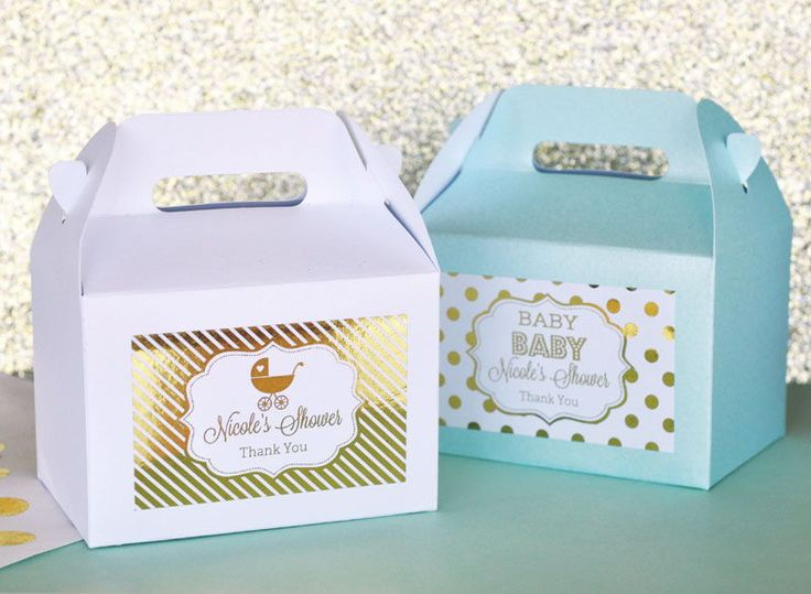Metallic Foil Personalized Mini Gable Boxes (set of 12) - Baby. Thank loved ones for sharing in your special day with these Metallic Gold & Silver Foil Baby Shower Personalized Mini Gable Boxes. Shiny metallic foil patterned labels can be customized with one of our many baby designs, from little baby footprints to baby carriages. Choose just the right label to complement your baby shower style. These sparkling, uniquely shaped favor boxes come complete with a convenient handle when…