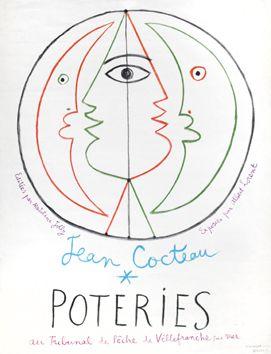 Cocteau Jean : Affiche originale Mourlot : Jean Cocteau Poteries