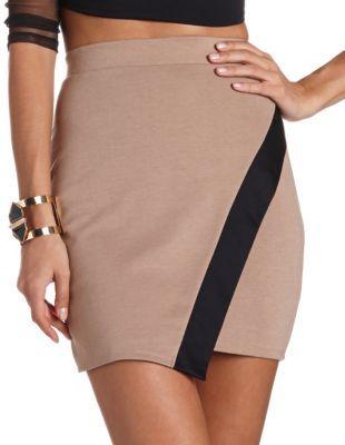 draped color block skirt