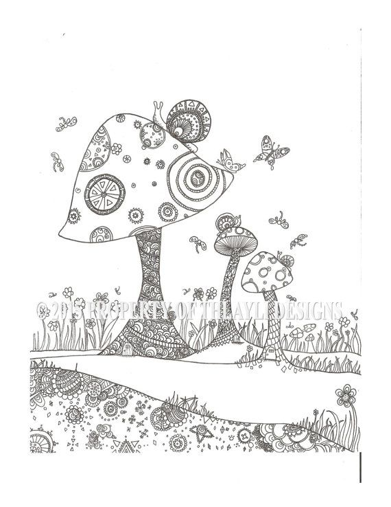 fantasy mushroom coloring pages - photo#12