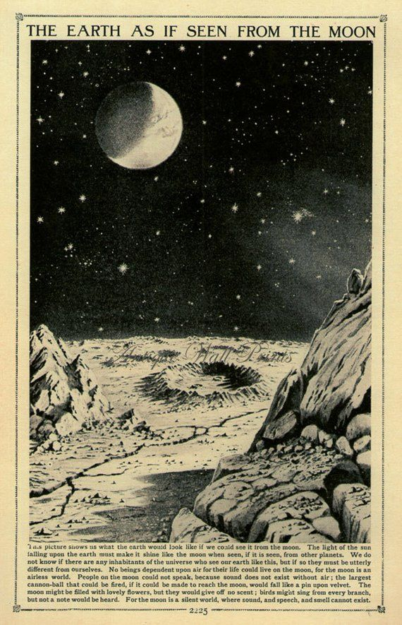 MOONSCAPE moon Vintage prints science artwork print pure historical past print classic prints Victorian artwork print previous lithograph eight x 10 artwork print