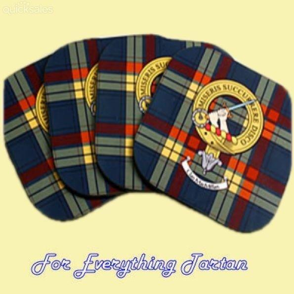 Clan Crest Tartan Badge Wooden Drink Coasters Set of 4 by JMB7339 - $35.00