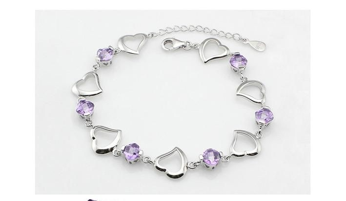 925 Sterling Silver Open Heart Bracelet with Claw Set 5 mm Amethyst's  http://lily316.com.au/shop/bracelets/sterling-silver-open-hearts-and-amethyst-bracelet/