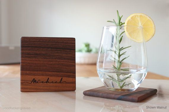 Personalized Scipt Name Wood Coaster Custom Engraved Set of 6 Drink Coasters Best Valentine Present Groomsmen Unique Gifts For Men, Friends