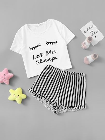 3673dc27a9 Girls Letter Print Tee & Striped Shorts PJ Set | SheIn.com Online ...
