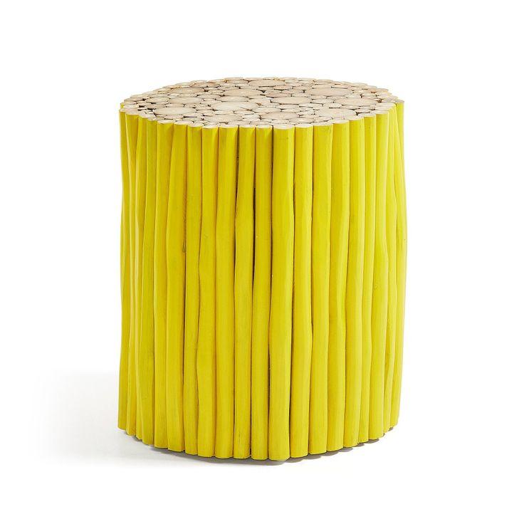 Taburet galben lemn tec Filippo La Forma