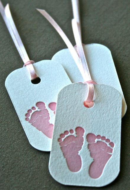 Pink Baby Feet Letterpress Gift Tag Set of 3 by greengrasspress, $2.50