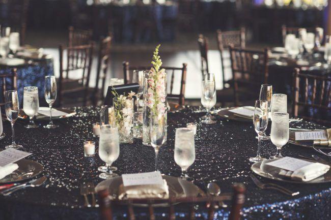 Navy Sequin Wedding Linen | Glamorous Glitter Wedding at Bella Collina in Montverde, FL. Orlando wedding planner designed glitter wedding. Full Service Luxury Wedding Planner. | Photo by KV Photography