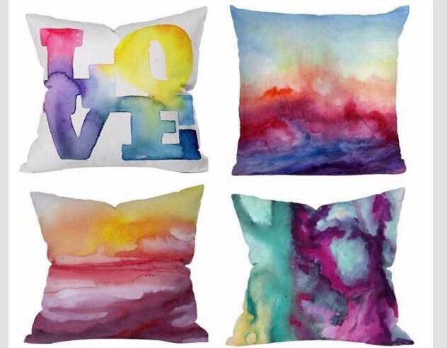 DIY Sharpie Pillow.Draw on plain pillows with colorful sharpies, and then spray with rubbing alcohol for a watercolor/tie dye eff