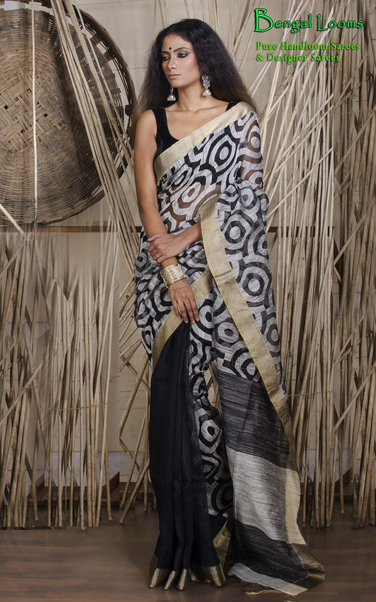 Beautiful Half And half resham Jamdani available for sale from Bengal Looms