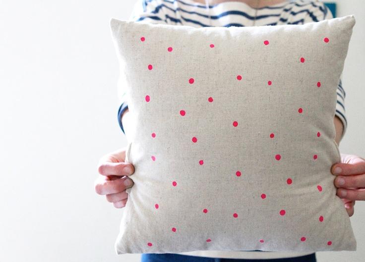 Hand Printed Linen Cushion Cover  - Neon Pink Polka Dot. $30.00, via Etsy.