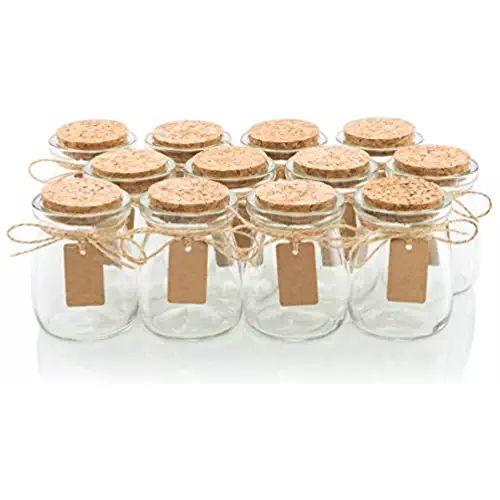 Glass Favor Jars With Cork Lids - Honey Pot Bottles [12pc Bulk Set] Plus Label Tags and String - 3.4oz - Wedding and Party