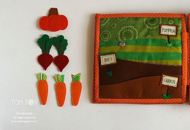Tela hecha a mano tranquila libro ocupado por Sergio, vegetales de jardín, libro el desarrollo
