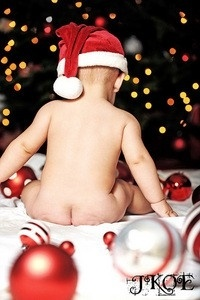 Baby Christmas Photo @Jaclyn Booton Booton Booton Booton Booton Hudson maybe lying on their tummies??