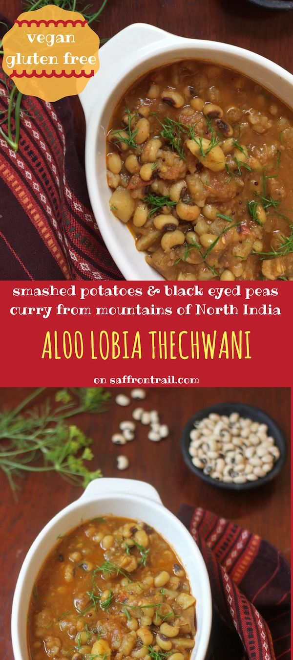 Thechwani is a rustic curry from Uttarakhand, a mountainous state in North India. This dish is made using smashed potatoes and/or radishes. Try out my version that uses black eyed peas and potatoes.
