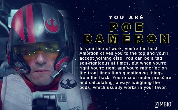 I took Zimbio's 'Star Wars: The Force Awakens' character quiz and I got Poe Dameron. Who are you? - Quiz