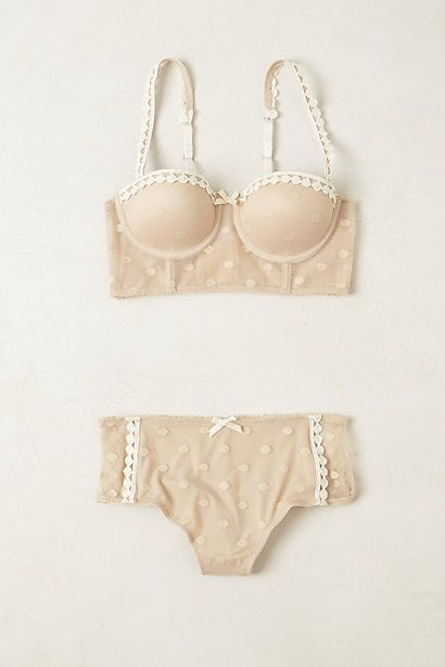 Polka dot bra and undies with bow.