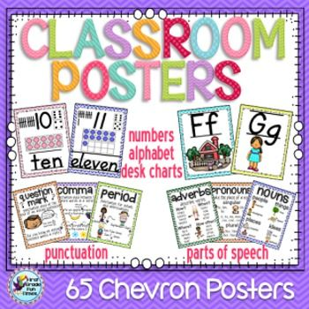 Over 200 pages of chevron classroom posters and classroom decor including numbers, alphabet, shapes, ordinal numbers, colors, parts of speech and punctuation.