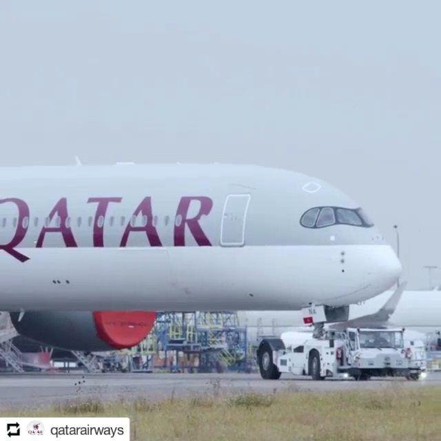 @qatarairways    Fuel efficient quieter and environmentally friendly. Our first Airbus A350-1000 gets its signature Rolls-Royce Trent engines installed at the workshop #FirstIn1000 #QatarA350 @airbus #airbus @rollsroycegroup #rollsroyce #qatarairways #cleanenergy