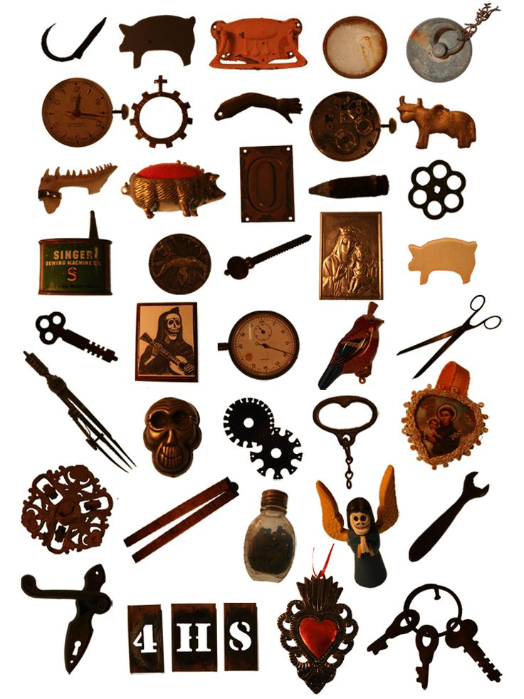 this was a collection of things that was used for an invite to my first show based on the cabinet of curiousity