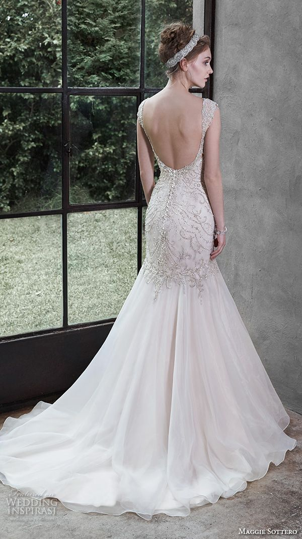 """Maggie Sottero Fall 2015 Wedding Dresses   Wedding Inspirasi   """"Melissa"""" -- Gorgeous, Fit To Flare Silhouette Organza Wedding Gown With Sweetheart Neckline, Crystal Beaded Bodice & Shoulder Straps, Low Cut Back, Chapel Length Organza Train; (Back View)~~~~"""