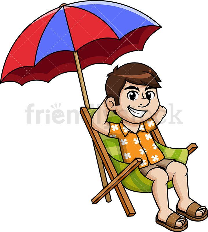 Man Under Beach Umbrella Cartoon Vector Clipart Friendlystock Umbrella Cartoon Cartoon Clip Art Cartoons Vector