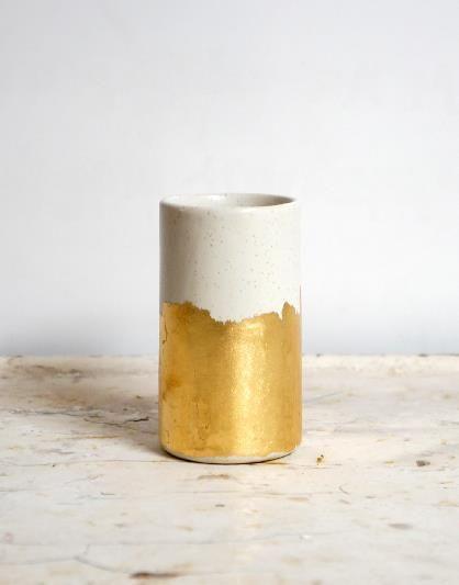 Gold Brushstrokes Vessel Vase / Object Enthusiast