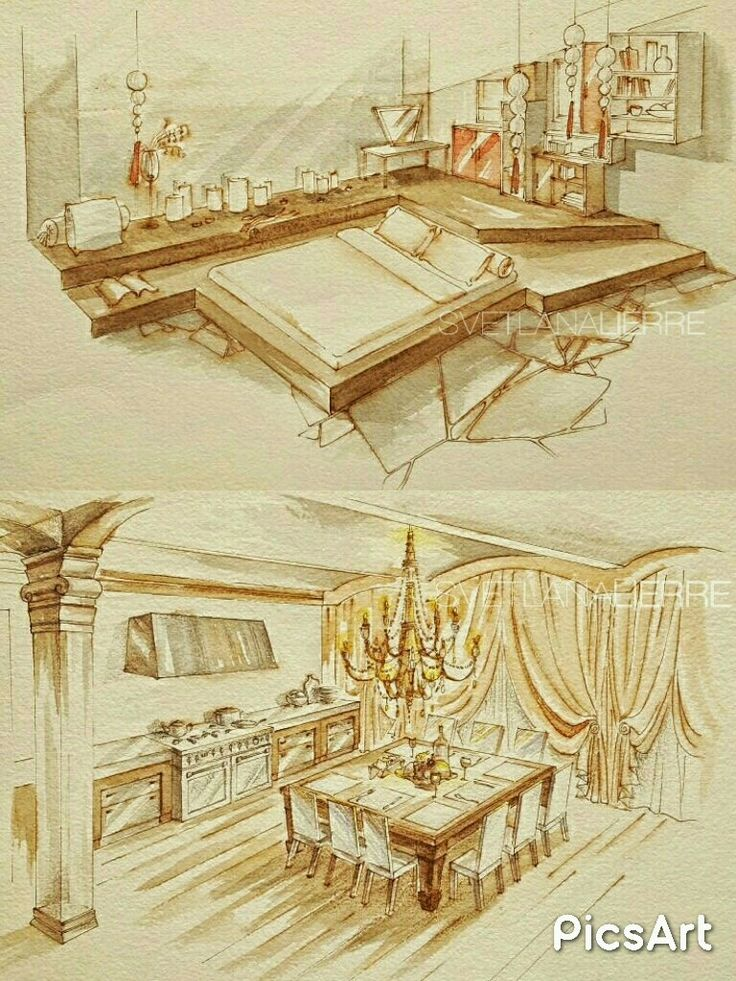 Watercolour interior illustration.  Bachelors flat :)