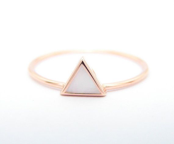Triangle Mother of Pearl Ring Geometric Ring 14k Gold by FRomaG