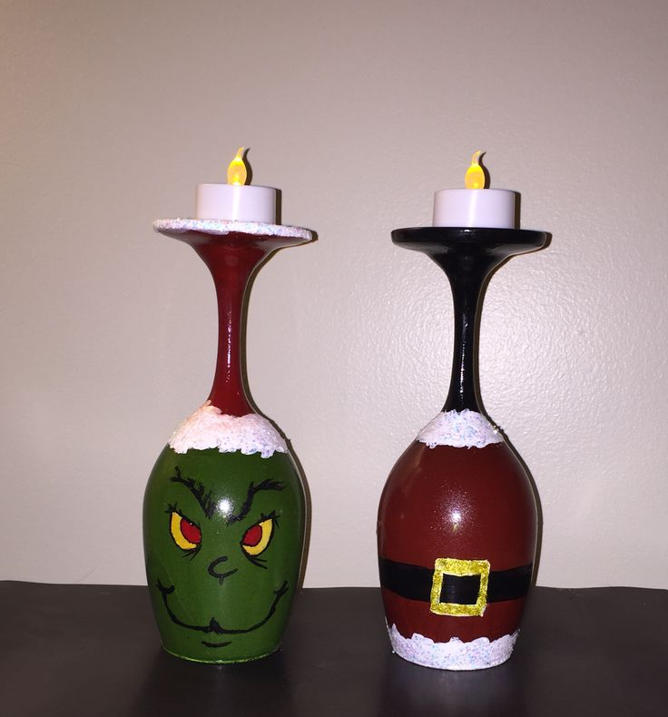 Grinch vs claus hand painted wine glass candle holders for Christmas painted wine glasses pinterest