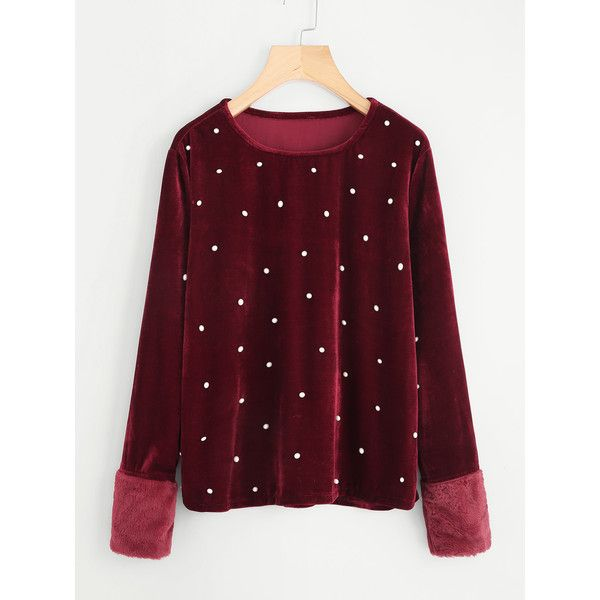 SheIn(sheinside) Contrast Faux Fur Cuff Pearl Detail Velvet Tee ($15) ❤ liked on Polyvore featuring tops, t-shirts, burgundy, long sleeve stretch t shirt, velvet tees, long sleeve tops, long-sleeve crop tops and long sleeve round neck t shirt