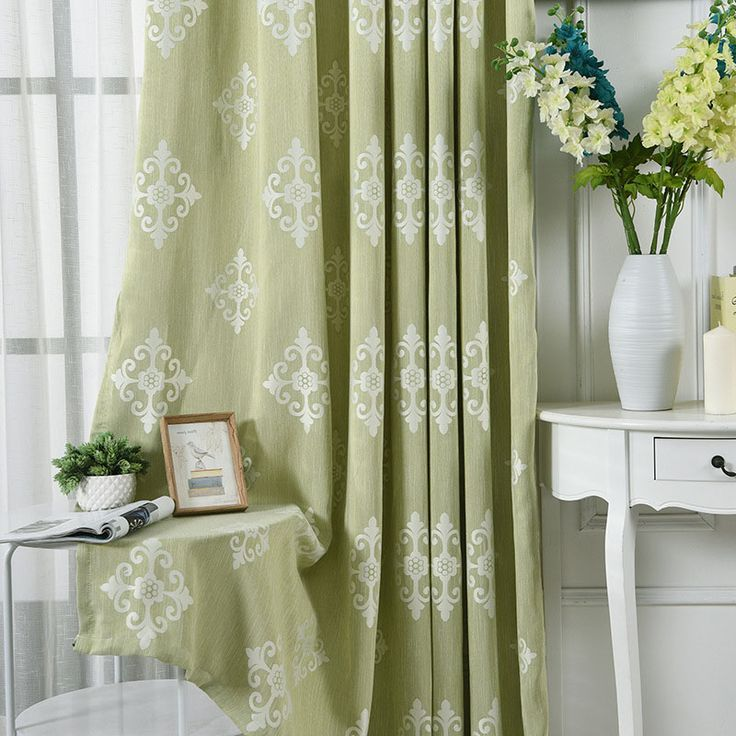 Light Sage Green White Damask Patterned Insulate Thermal Bedroom Window Curtains Sara Green Curtains Living Room Sage Green Curtains Green Curtains Bedroom