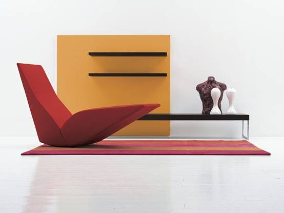 CAPPELLINI – Bird by Tom Dixon.  Rocking chaise longue, structure in medium density wooden conglomerate panels, solid fir and metal, upholstered in multi-density polyurethane foam. Removable cover in fabrics or leathers of the collection.